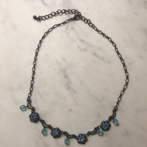 Blue flower and moon necklace
